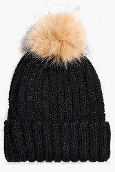 Boohoo Faux Fur Pom Rib Knit Beanie Hat Black