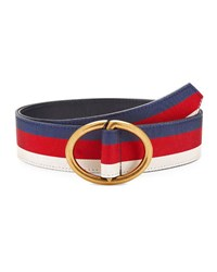 Gucci Men's Web Belt With Gold Buckle Blue Red