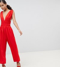 Asos Design Tall Ruched Waist Plunge Jumpsuit Red