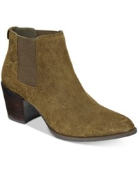 Anne Klein Geordanna Block Heel Booties Green Suede