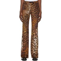 Versace Beige And Black Leopard Trousers