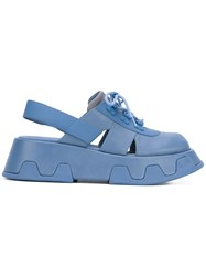 Camper 'Wilma' Platform Sandals Women Leather Polyester Rubber 38 Blue