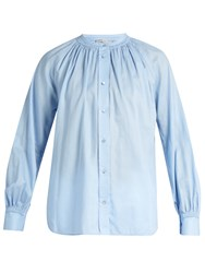 Vince Oversized Gathered Detail Cotton Shirt Light Blue