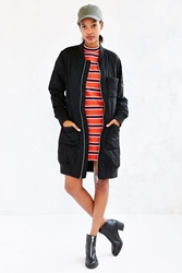 Silence And Noise Silence Noise Long Quilted Bomber Jacket Black