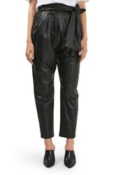 Topshop Women's Boutique Leather Carrot Trousers Black