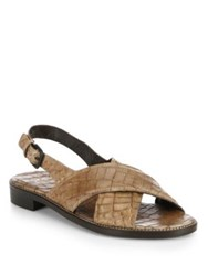 Stuart Weitzman Croc Embossed Leather Criss Cross Sandals Black