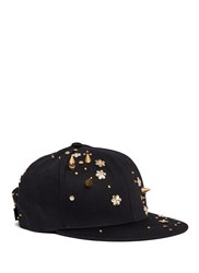 Piers Atkinson Spike Stud Floral Sequin Twill Baseball Cap Black