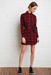 Forever 21 Plaid Flannel Shirt Dress Red Navy