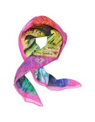 Julia Cocco' We All Love Macarons Silk Square Scarf Fuchsia