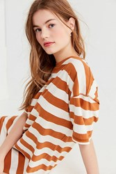 Urban Outfitters Uo Sydney Striped T Shirt Dress Brown Multi
