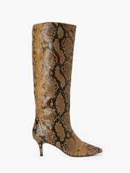 And Or Viola Leather Snake Print Stiletto Knee High Boots Tan