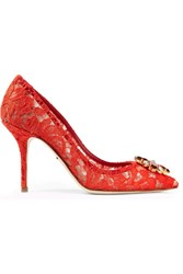 Dolce And Gabbana Crystal Embellished Corded Lace Pumps Red