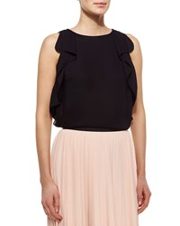 Kate Spade Sleeveless Ruffle Sleeve Crepe Top Black