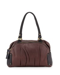 Tina Two Tone Leather Satchel Bag Espresso Multi Oryany
