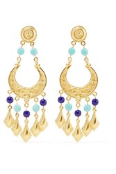 Ben Amun Gold Tone Stone Earrings Blue