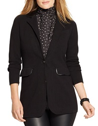Lauren Ralph Lauren Plus Faux Leather Trimmed Blazer Black