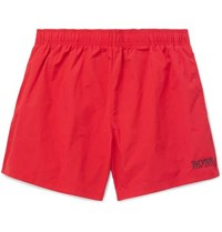 Hugo Boss Short Length Logo Embroidered Swim Shorts Red