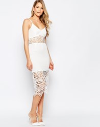 Jarlo Harmony Midi Dress With Crochet Inserts Cream