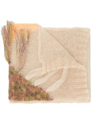 Forte Forte Embroidered Fringed Scarf Nude And Neutrals