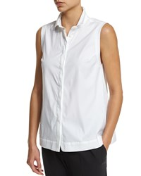 Brunello Cucinelli Sleeveless A Line Blouse W Monili Trim White