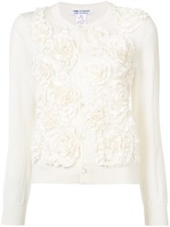 Comme Des Garcons Ruffled Floral Cardigan Women Cotton Polyester Wool S White