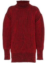 Balenciaga Distressed Rib Jumper Red