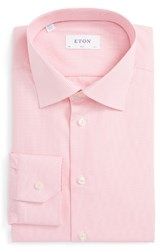 Eton Men's Big And Tall Slim Fit Check Dress Shirt Pink Red