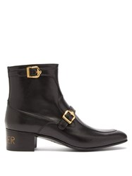 Gucci Sucker Print Buckled Leather Ankle Boots Black