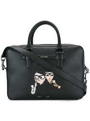 Dolce And Gabbana Mediterraneo Designers Patch Tote Black