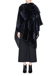 The Row 'Matton' Sheared Mink Fur Shawl Black