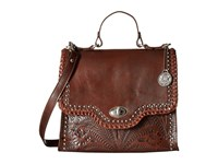 American West Hidalgo Top Handle Convertible Flap Bag Chestnut Brown Top Handle Handbags