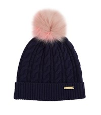Burberry Shoes And Accessories Wool Cashmere Pom Pom Beanie Female Navy