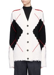 Msgm Argyle Check Intarsia Cutout Cardigan Multi Colour