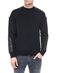 Balmain Crewneck Sweater With Quilted Leather Details Black
