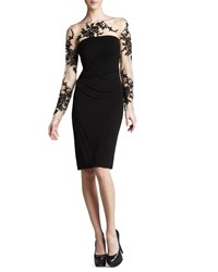David Meister Long Sleeve Embroidered Jersey Dress Black