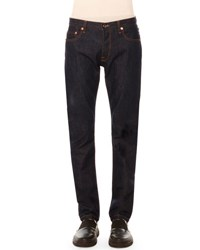 Valentino Five Pocket Clean Wash Denim Jeans With Rockstud Detail Dark Blue