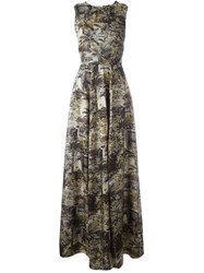 N 21 N.21 Jungle Print Sleeveless Maxi Dress Nude And Neutrals