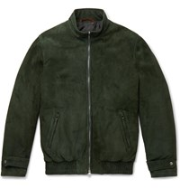 Isaia Suede Bomber Jacket Green