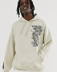 Reclaimed Vintage Oversized Hoodie With Scribble Print Stone