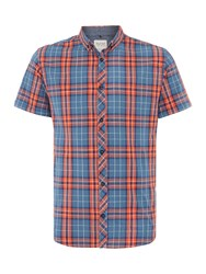 Blend Of America Check Classic Fit Short Sleeve Button Down Shirt Red