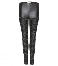 Saint Laurent Cut Out Leather Leggings Black