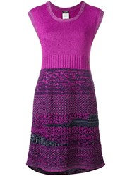 Chanel Vintage Boucle Knit Dress Pink Purple