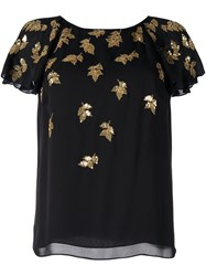 Oscar De La Renta Sequined Applique T Shirt Black