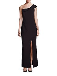 Laundry By Shelli Segal One Shoulder Crepe Gown Black