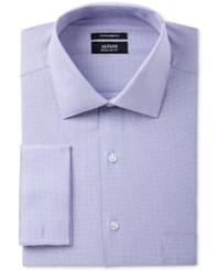 Alfani Men's Classic Regular Fit Performance Stretch Easy Care French Cuff Lavender Step Twill Dress Shirt Only At Macy's