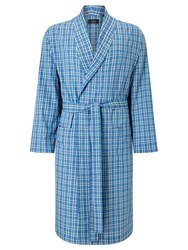 John Lewis Linford Check Cotton Poplin Robe Blue