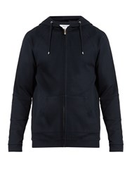 Hamilton And Hare Zip Through Hooded Cotton Blend Sweatshirt Navy