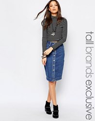 Glamorous Tall Midi Denim Skirt With Buttons Blue