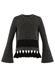 Proenza Schouler Tassel Hem Tweed Sweater Black White