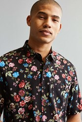Urban Outfitters Uo Rose Vineyard Rayon Short Sleeve Button Down Shirt Black
